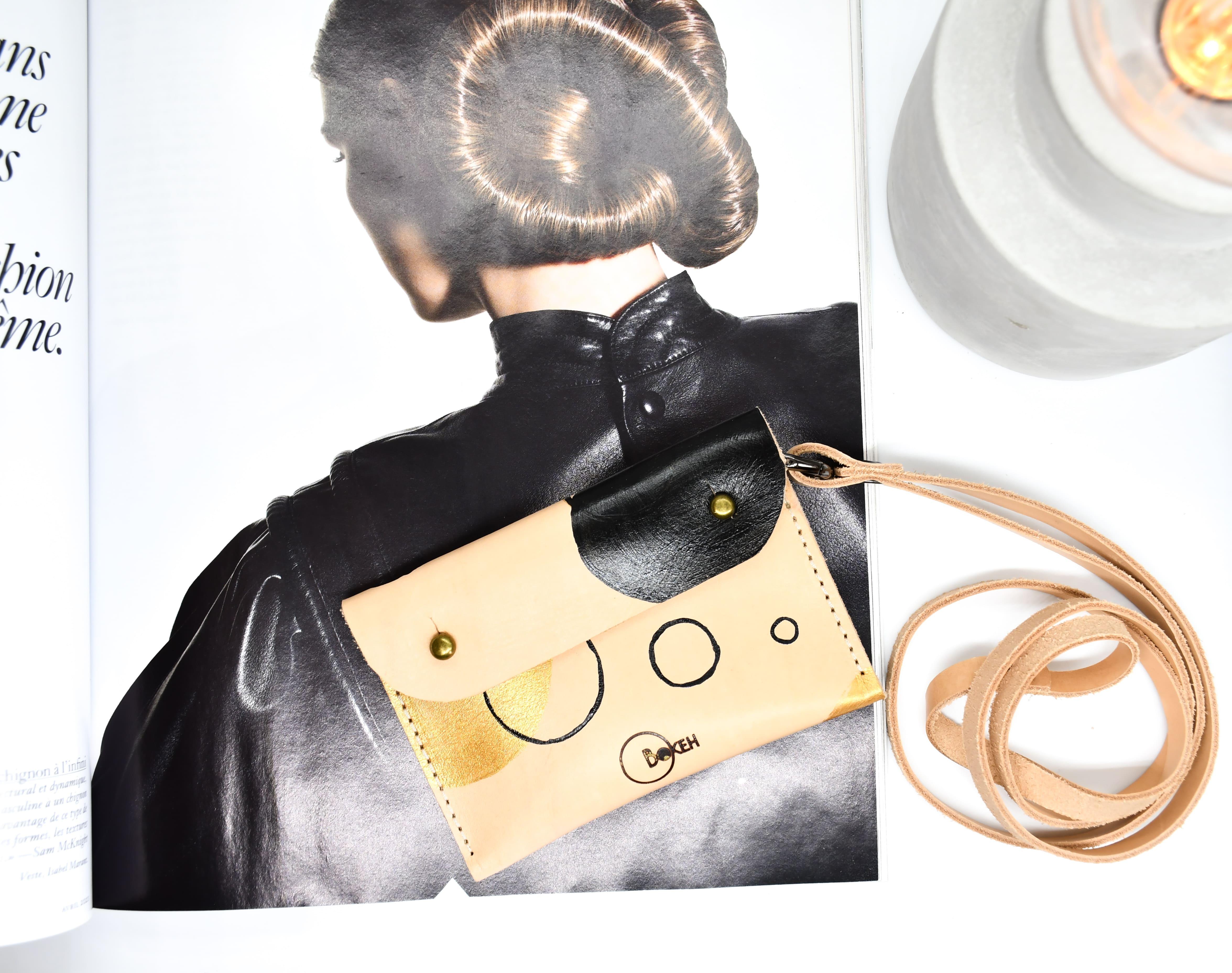 Shapes-gold/black neck wallet 6