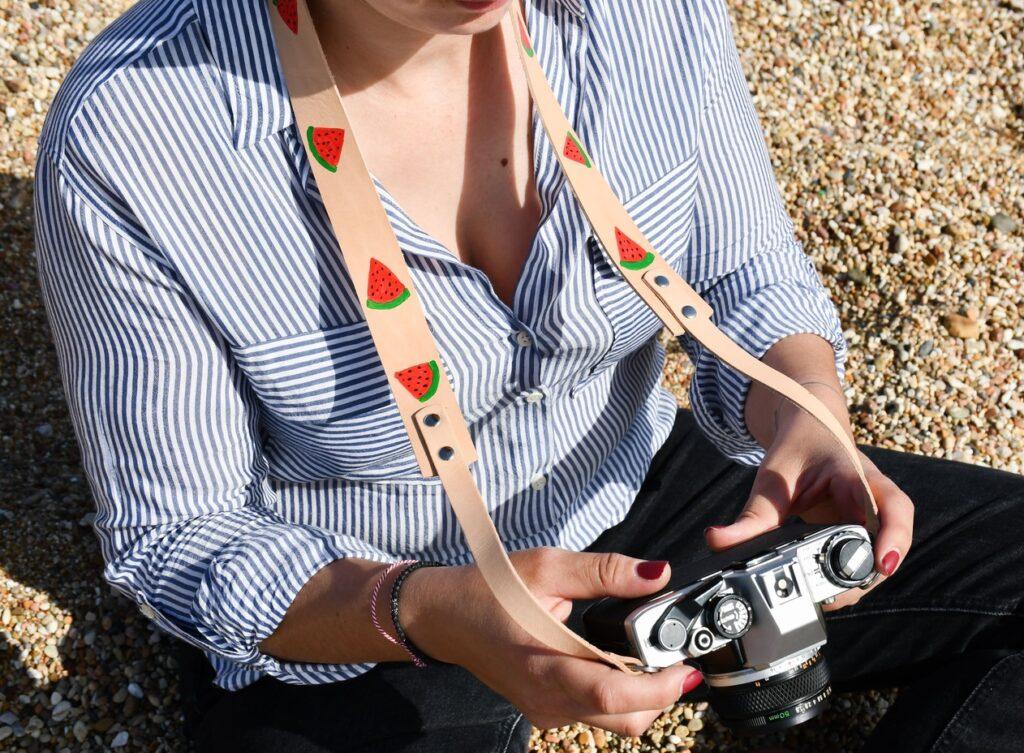 Watermelon Leather Camera Strap for DSLR 2